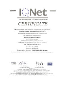 ISO IQNET CERTIFICATE